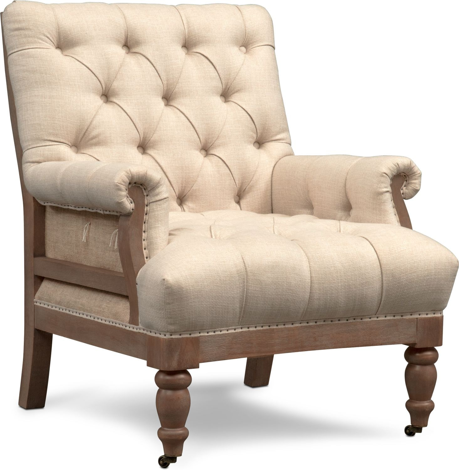Bridget Accent Chair - Cream | Value City Furniture and Mattresses