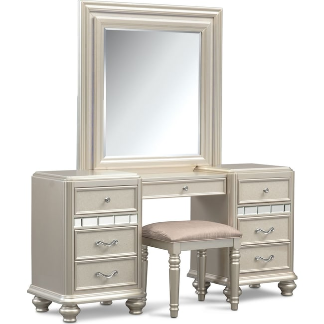 Bedroom Furniture - Sabrina Vanity Desk, Mirror and Bench