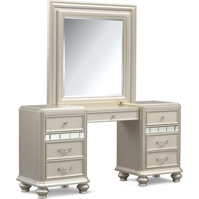 Sabrina Vanity Desk And Mirror Platinum Value City