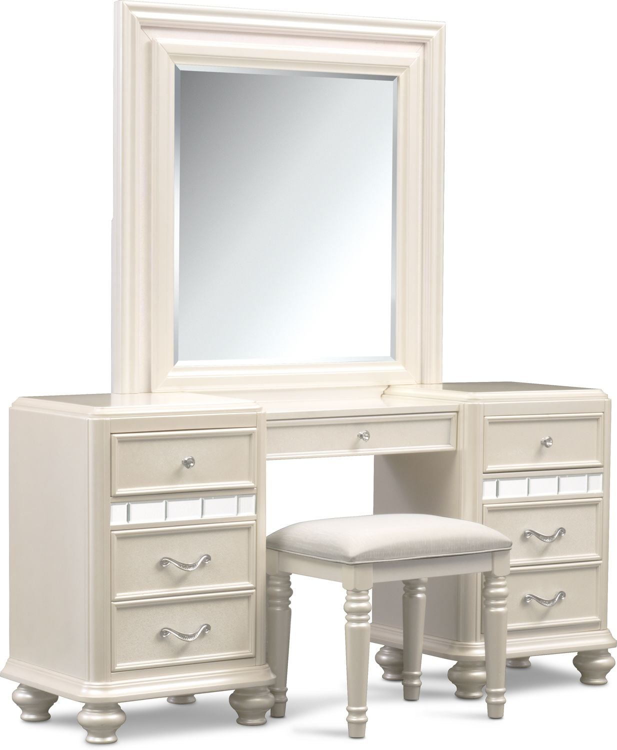 Sabrina Vanity Desk, Mirror and Bench | Value City Furniture and ...