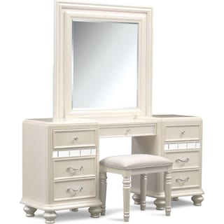 Sabrina Vanity, Mirror and Bench