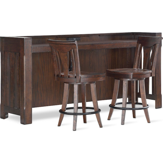 Dining Room Furniture - Sheffield Bar and 2 Counter-Height Stools - Walnut