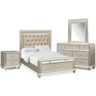 Sabrina 6-Piece Queen Bedroom Set with Nightstand, Dresser and Mirror