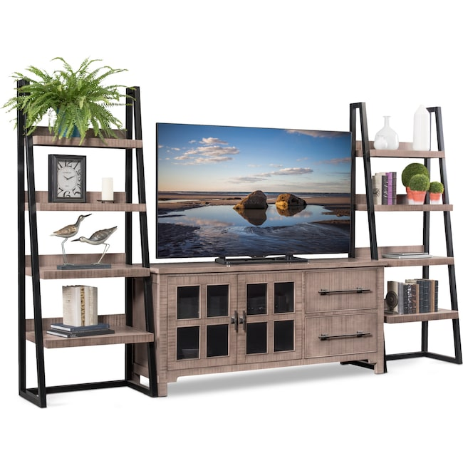 Entertainment Furniture - Tiburon 3-Piece Entertainment Wall Unit - Gray
