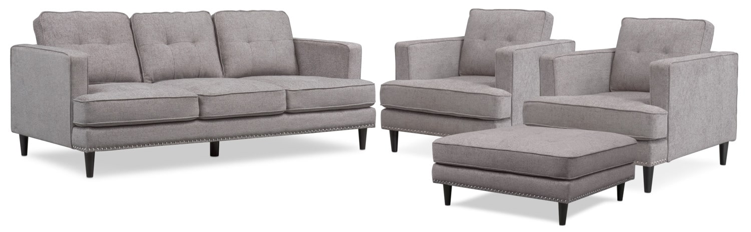 Living Room Furniture - Parker Sofa with Ottoman and 2 Chairs