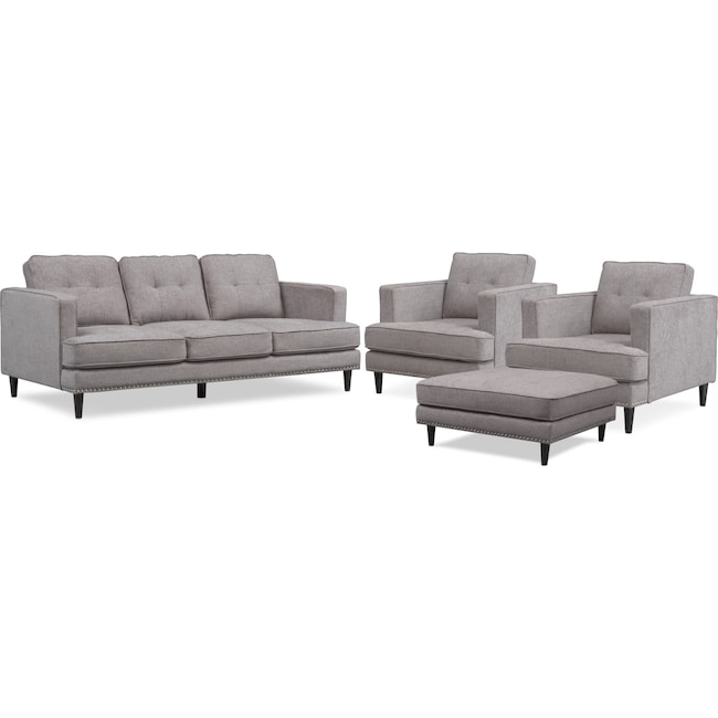 Living Room Furniture - Parker Sofa, 2 Chairs and Ottoman Set