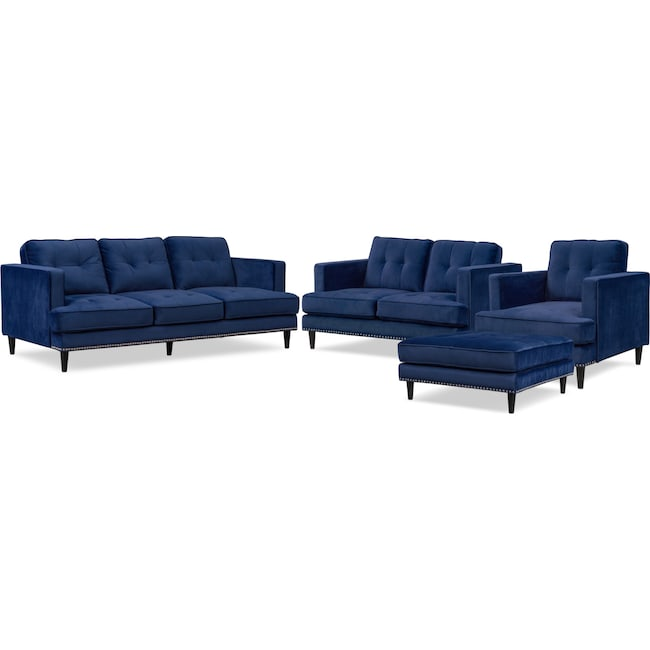 Living Room Furniture Parker Sofa Loveseat Chair And Ottoman Set
