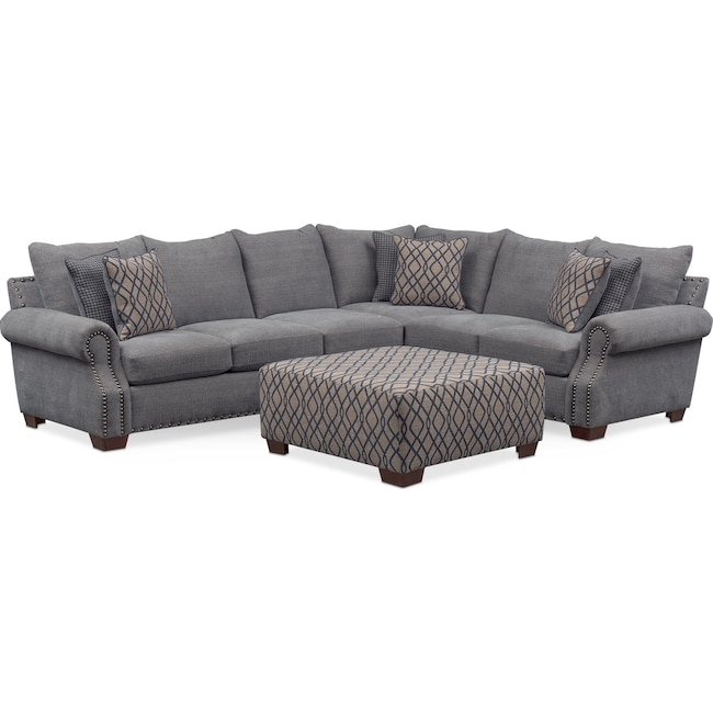 Living Room Furniture - Bolton 2-Piece Sectional with Left-Facing Sofa and Cocktail Ottoman - Gray
