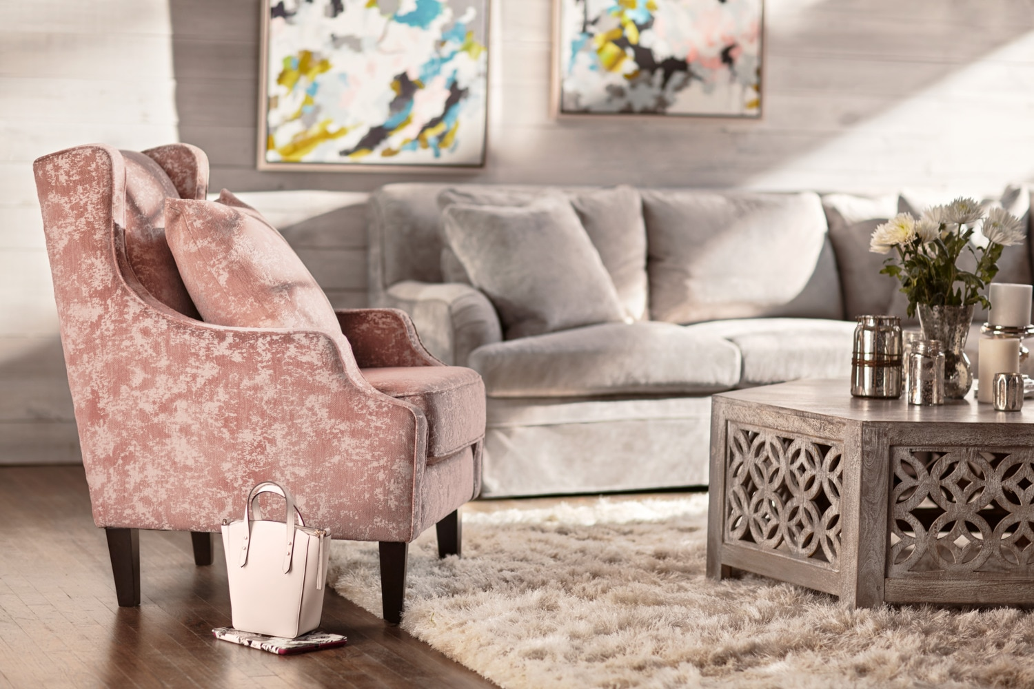 Campbell Accent Chair Blush Value City Furniture And Mattresses