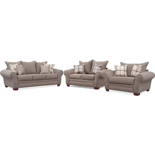 Rowan Sofa, Loveseat and Chair and a Half Set - Gray