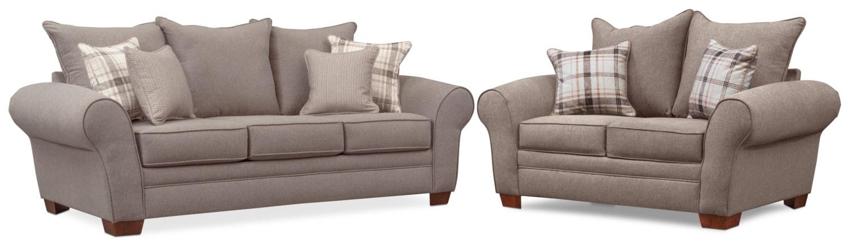 Living Room Furniture - Rowan Sofa and Loveseat Set - Gray