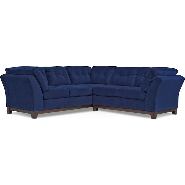 Living Room Furniture - Sebring 2-Piece Sectional with Right-Facing Loveseat - Indigo