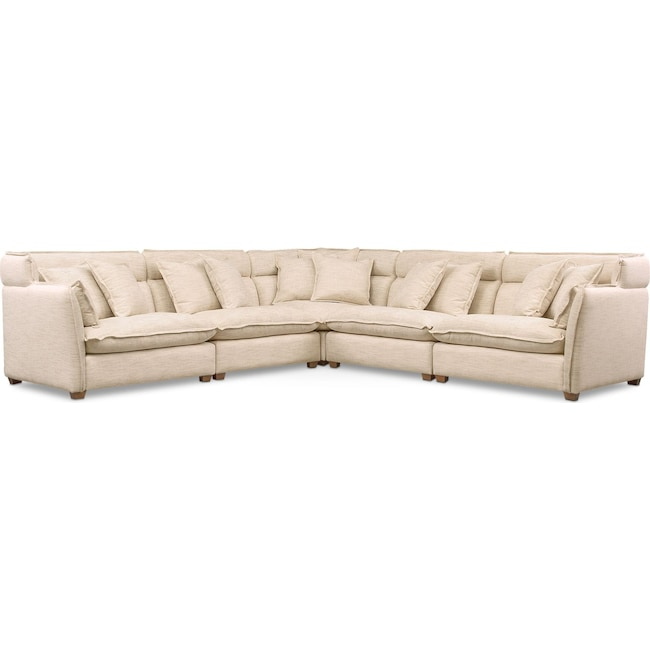 Living Room Furniture - Willow 5-Piece Sectional - Beige