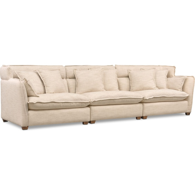 Living Room Furniture - Willow 3-Piece Sofa - Beige