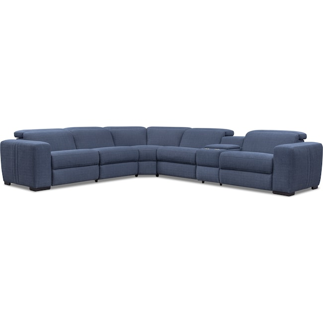 Living Room Furniture - Tino 6-Piece Dual Power Reclining Sectional - Navy