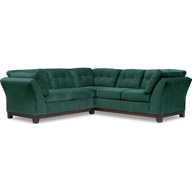 Living Room Furniture - Sebring 2-Piece Sectional with Left-Facing Loveseat - Emerald