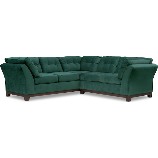 Living Room Furniture - Sebring 2-Piece Sectional with Right-Facing Loveseat - Emerald
