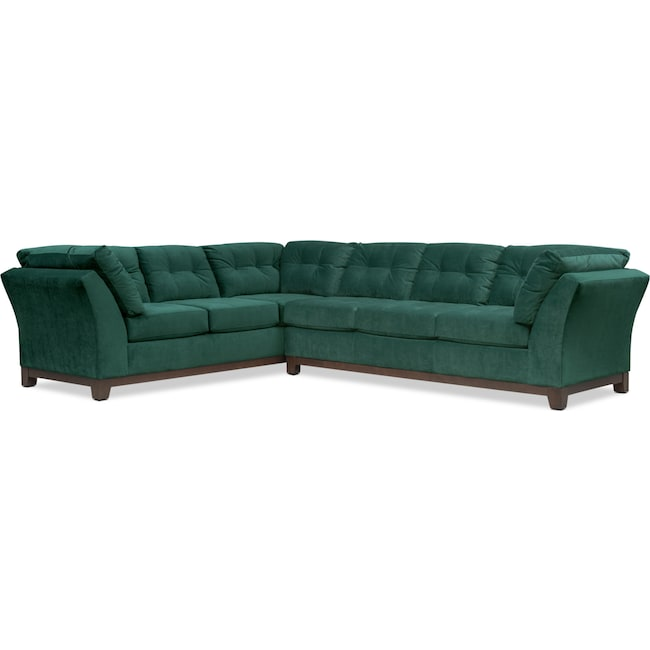 Living Room Furniture - Sebring 2-Piece Sectional with Right-Facing Sofa - Emerald