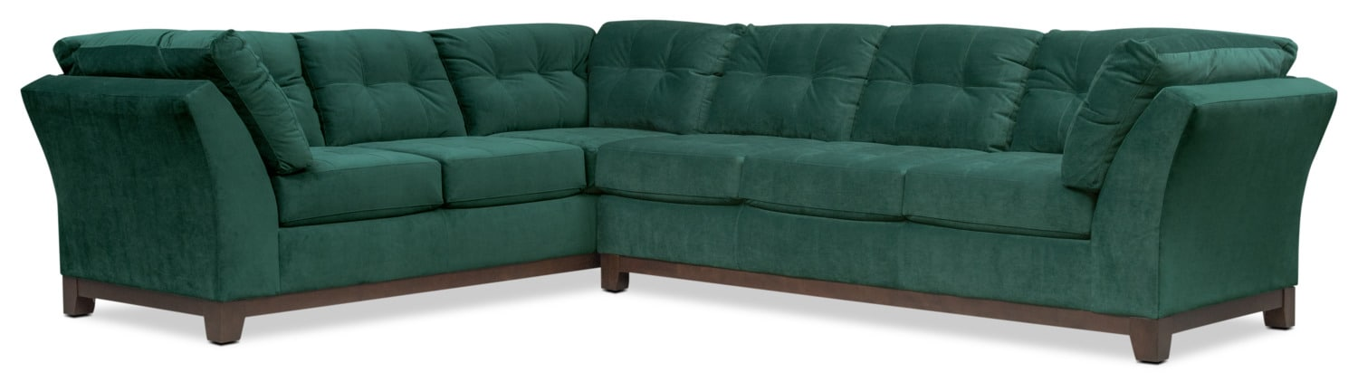 Living Room Furniture   Sebring 2 Piece Sectional With Right Facing Sofa    Emerald