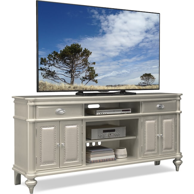 "Entertainment Furniture - Esquire 76"" TV Stand - Platinum"