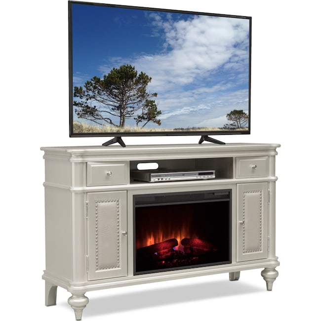 """Entertainment Furniture - Esquire 55"""" Traditional Fireplace TV Stand - Platinum"""
