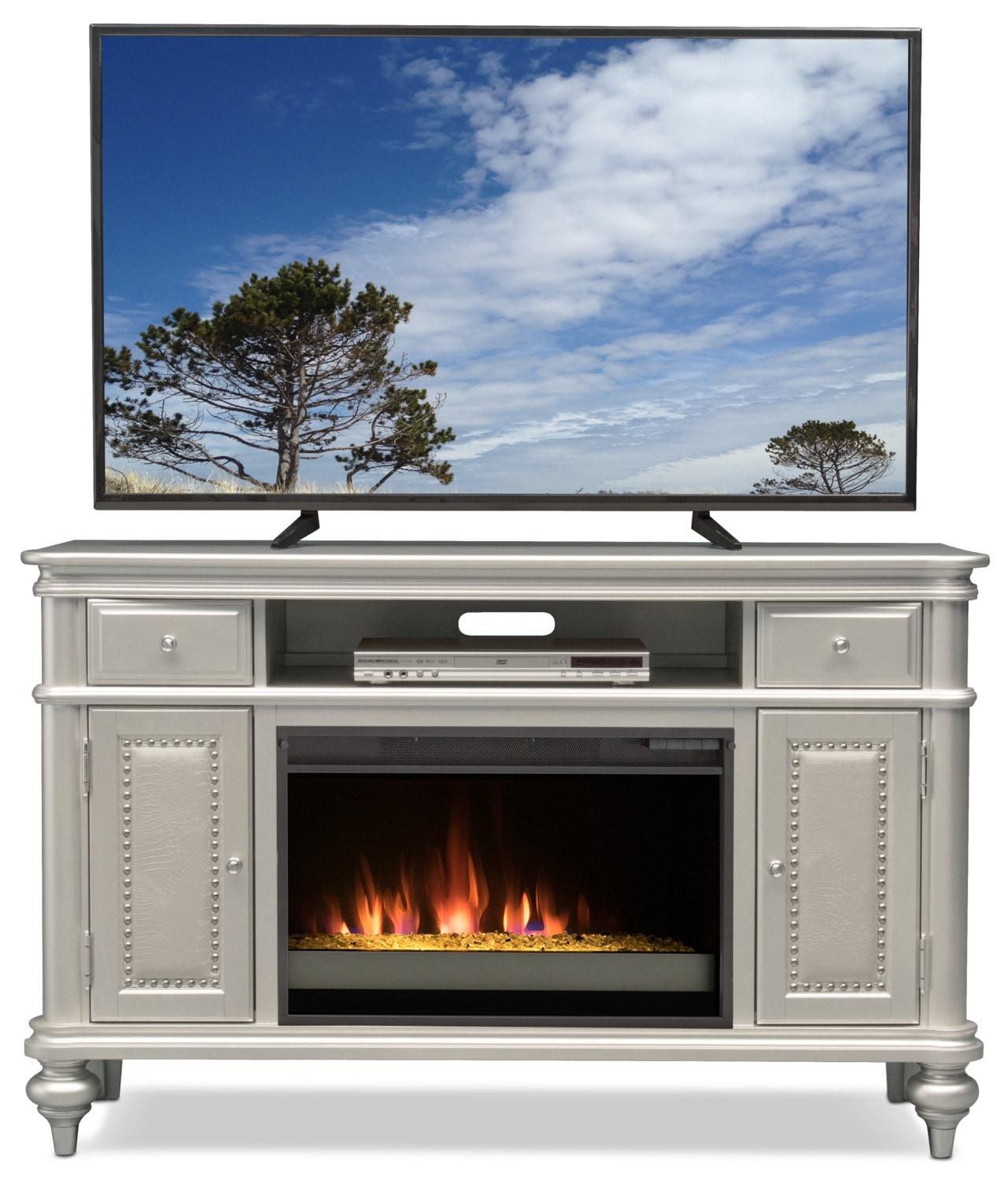 esquire 55 contemporary fireplace tv stand platinum value city furniture and mattresses. Black Bedroom Furniture Sets. Home Design Ideas