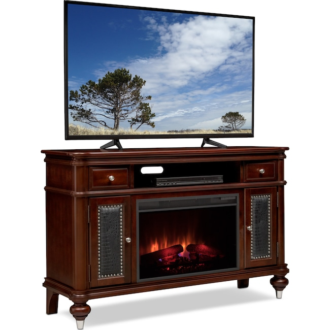 """Entertainment Furniture - Esquire 55"""" Traditional Fireplace TV Stand - Merlot"""