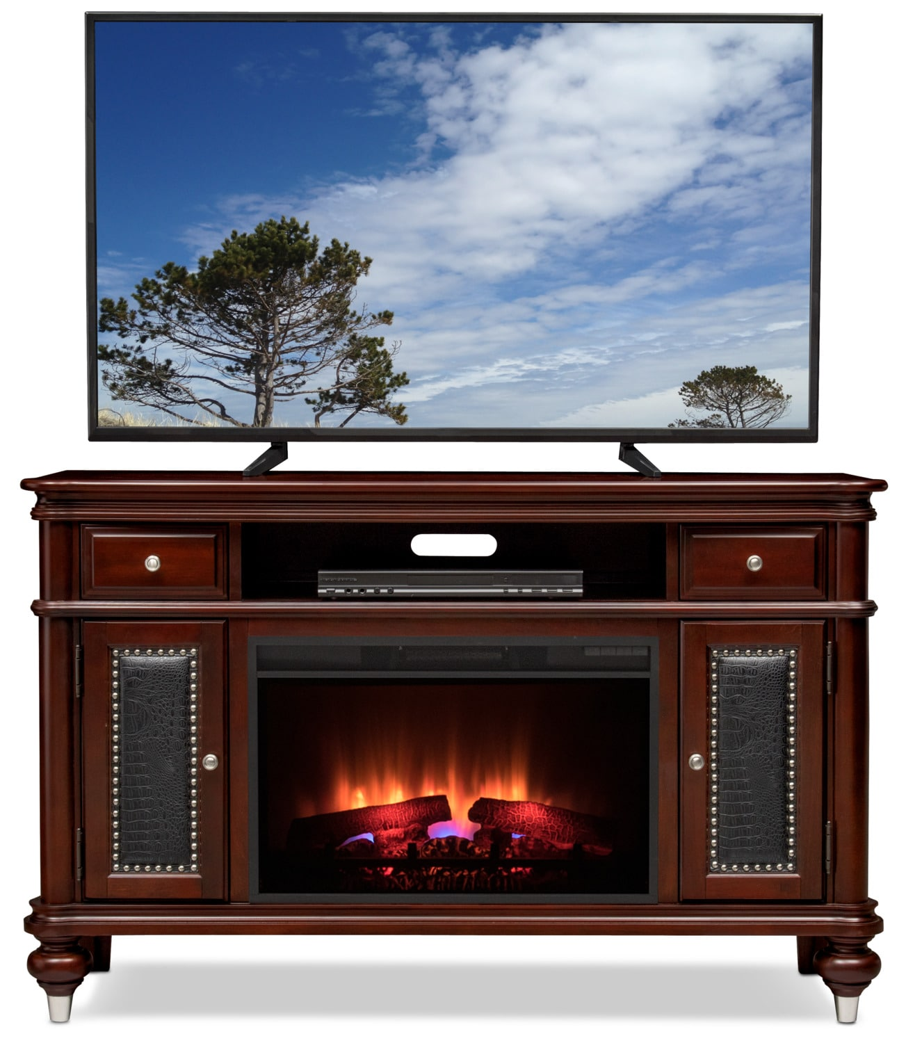 esquire 55 traditional fireplace tv stand merlot value city furniture and mattresses. Black Bedroom Furniture Sets. Home Design Ideas