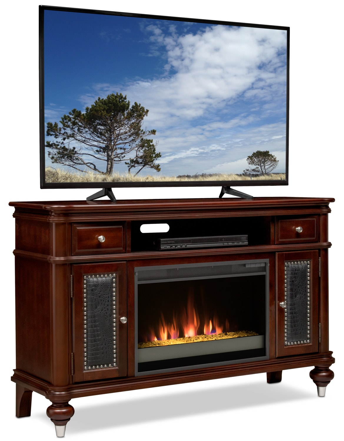 esquire 55 contemporary fireplace tv stand merlot value city furniture and mattresses. Black Bedroom Furniture Sets. Home Design Ideas
