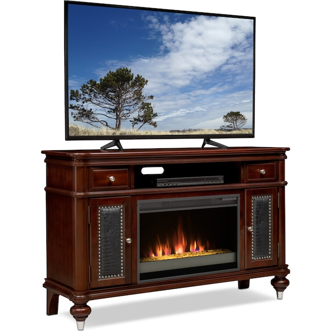 """Entertainment Furniture - Esquire 55"""" Contemporary Fireplace TV Stand - Merlot"""