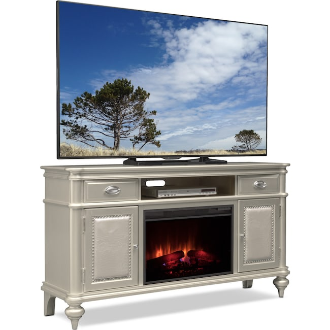 "Entertainment Furniture - Esquire 64"" Traditional Fireplace TV Stand - Platinum"