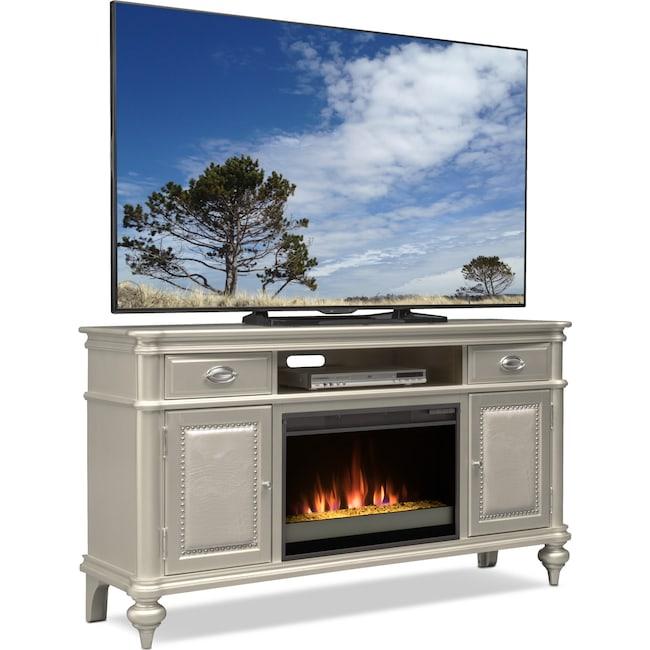 Esquire 64 Contemporary Fireplace Tv Stand Platinum Value City