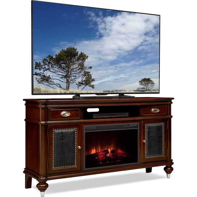 "Entertainment Furniture - Esquire 64"" Traditional Fireplace TV Stand - Merlot"