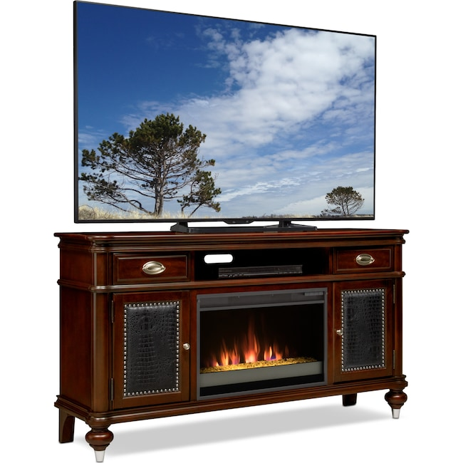 """Entertainment Furniture - Esquire 64"""" Contemporary Fireplace TV Stand - Merlot"""