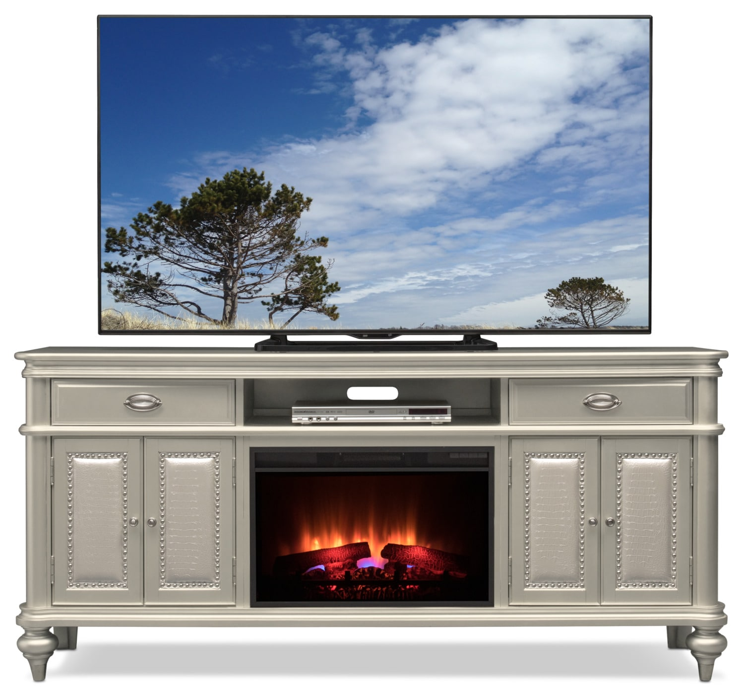 Esquire 76 Traditional Fireplace Tv Stand Platinum Value City
