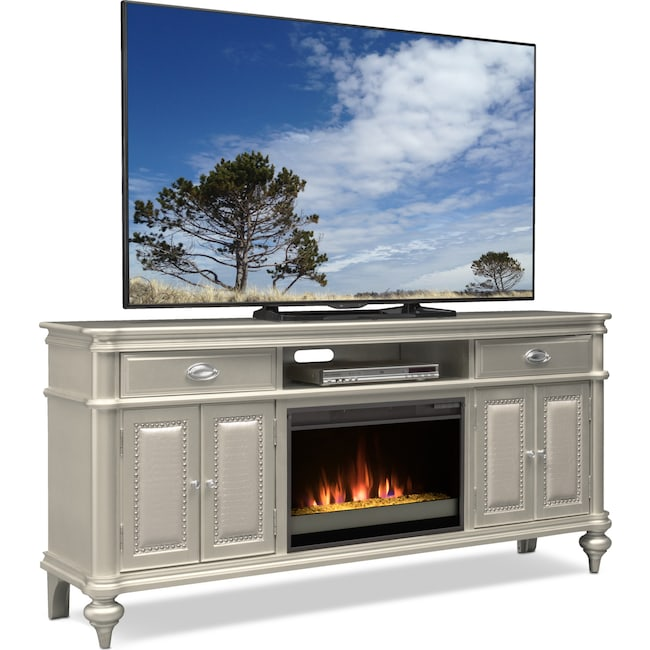 Esquire 76 Contemporary Fireplace Tv Stand Platinum Value City