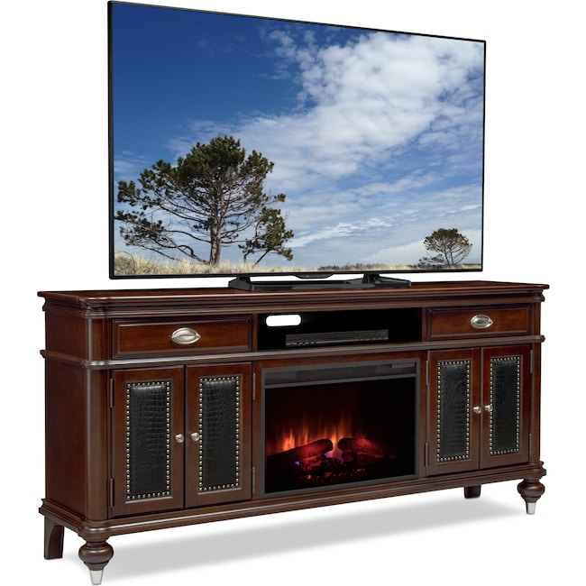 "Entertainment Furniture - Esquire 76"" Traditional Fireplace TV Stand - Merlot"