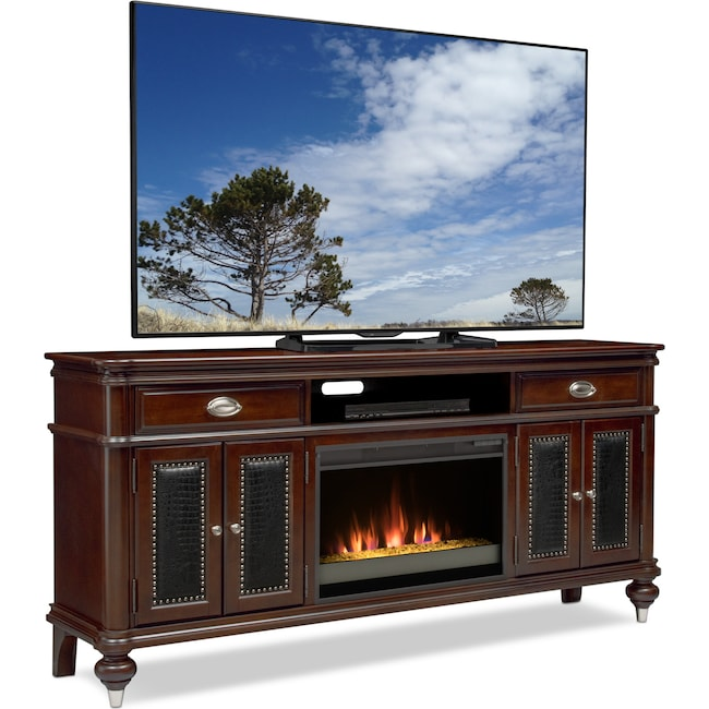 """Entertainment Furniture - Esquire 76"""" Contemporary Fireplace TV Stand - Merlot"""