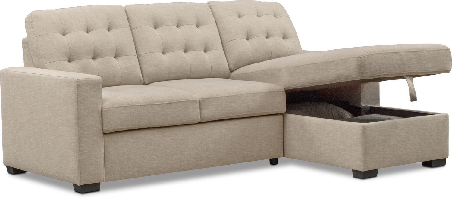 Living Room Furniture   Chatman Beige 2 Piece Sleeper Sectional With Chaise