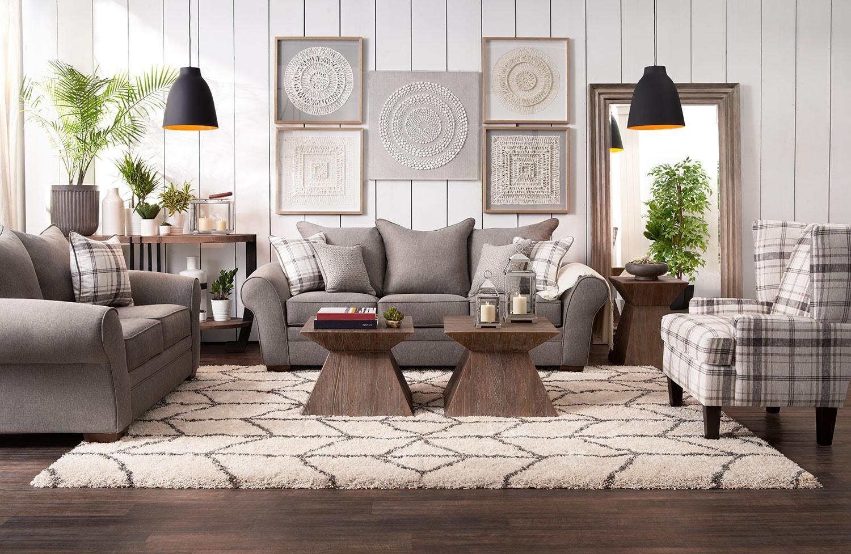 Rowan Sofa Loveseat And Accent Chair Set Gray Value