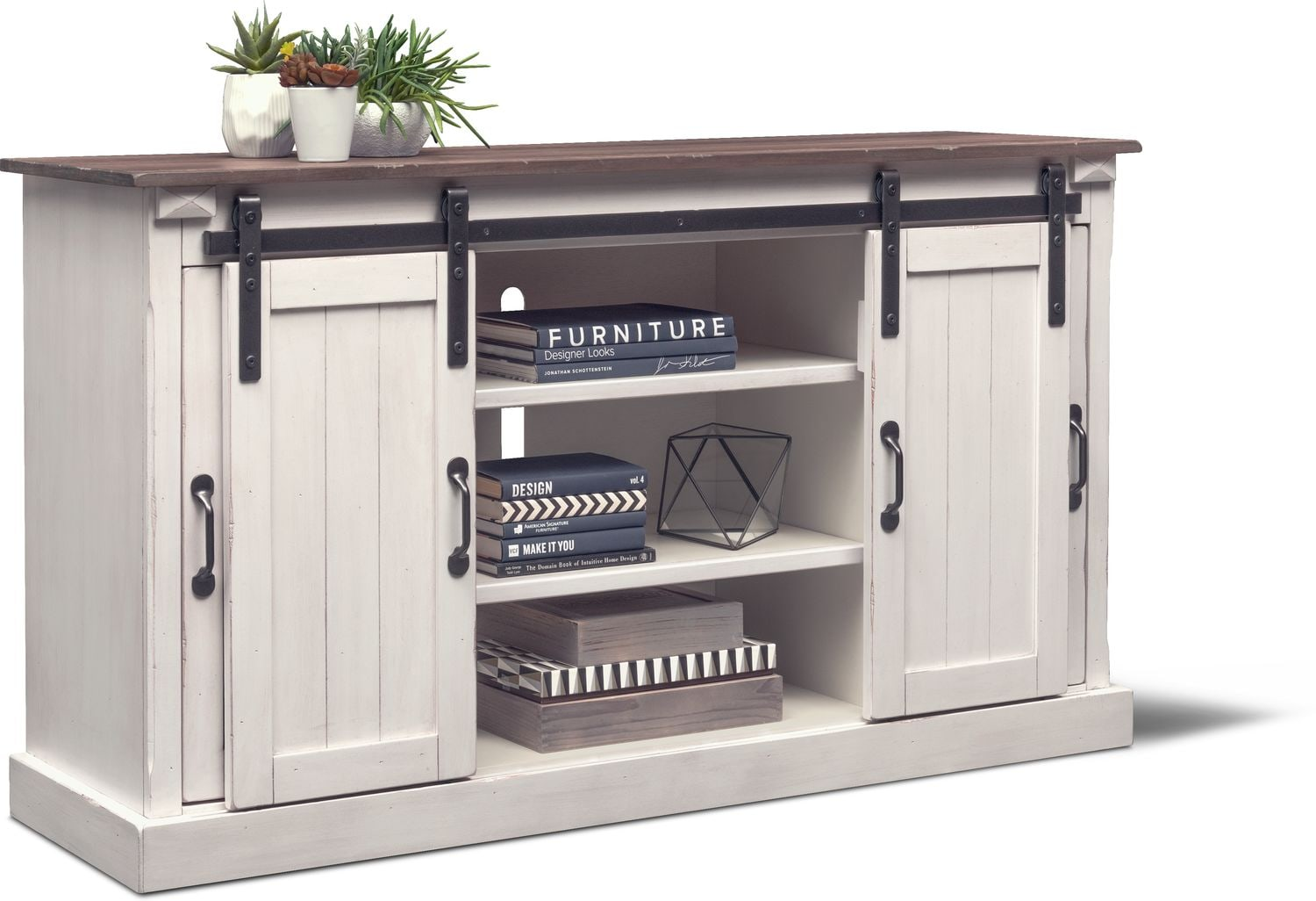 Barn Door 65 Tv Stand White Value City Furniture And Mattresses
