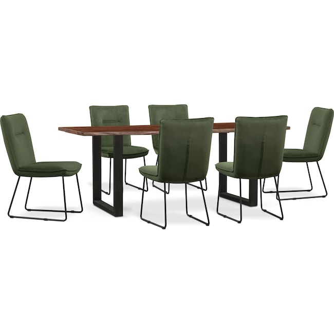 Dining Room Furniture - Portland Dining Table and 6 Upholstered Side Chairs Set - Hunter Green