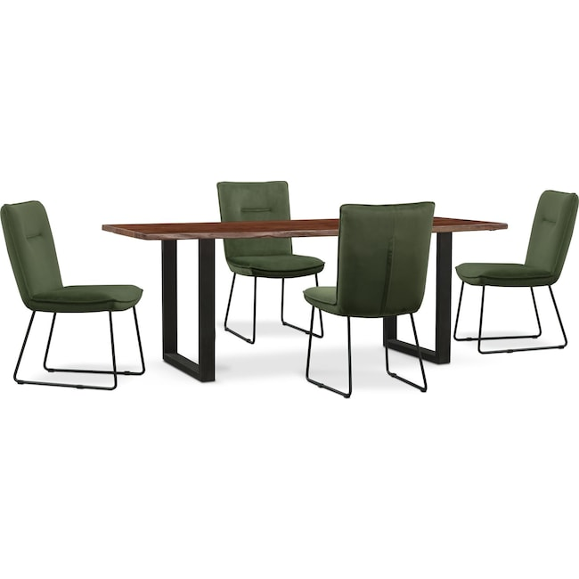 Dining Room Furniture - Portland Dining Table and 4 Upholstered Side Chairs Set - Hunter Green