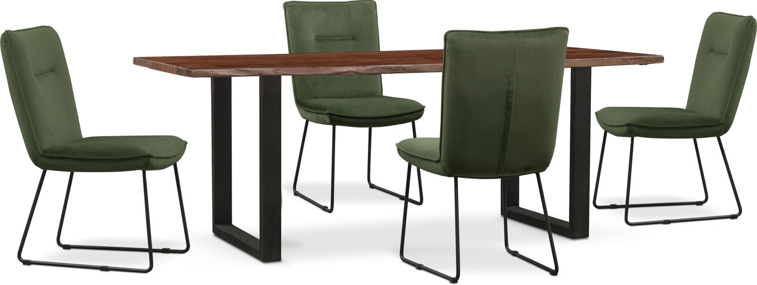 Dining Room Furniture   Portland Dining Table And 4 Upholstered Side Chairs    Hunter Green