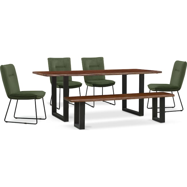 Dining Room Furniture - Portland Dining Table, 4 Upholstered Side Chairs and Bench Set - Hunter Green