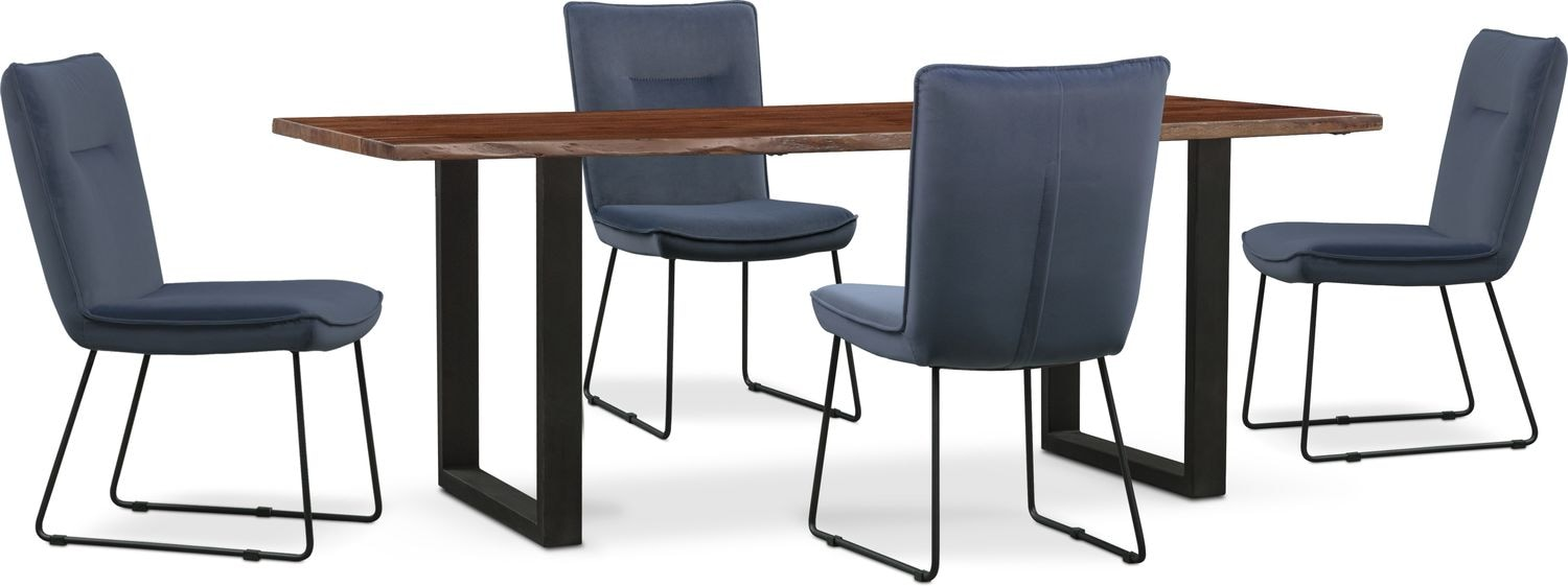 Dining Room Furniture - Portland Dining Table and 4 Upholstered Side Chairs