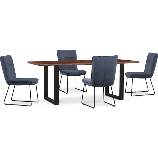 Dining Room Furniture - Portland Dining Table and 4 Upholstered Side Chairs - Slate
