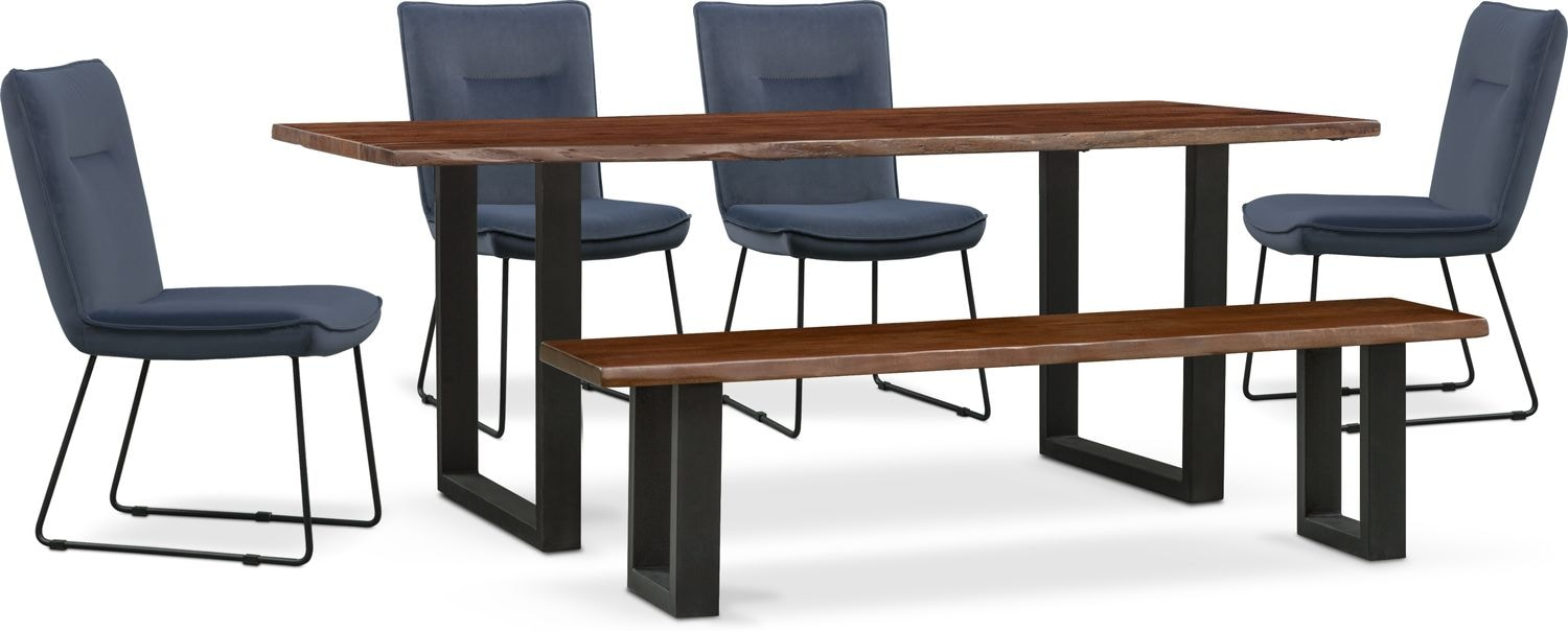 Dining Room Furniture - Portland Dining Table, 4 Upholstered Side Chairs and Bench