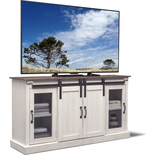 "Entertainment Furniture - Barn Door 65"" TV Stand - White"