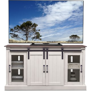 "Barn Door 65"" TV Stand - White"